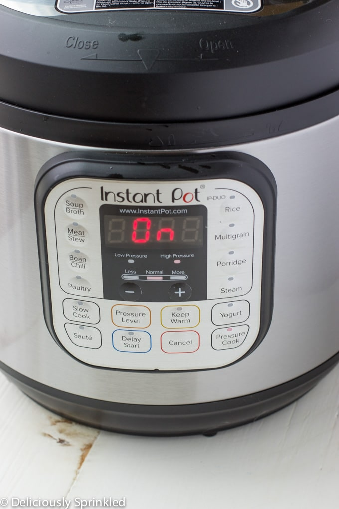 instant pot turned on for instant pot mashed potatoes