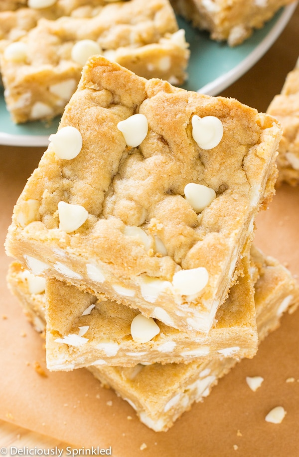white chocolate blondies cut and served