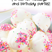 no bake cake batter truffles in a bowl with text that reads drool-worthy cake batter truffles recipe, perfect for holidays and birthday parties!