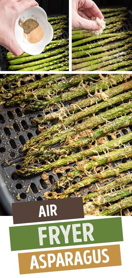 Air Fryer Asparagus with parmasean cheese