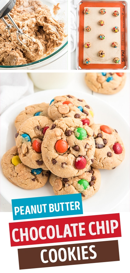 peanut butter chocolate chip cookies with M&Ms